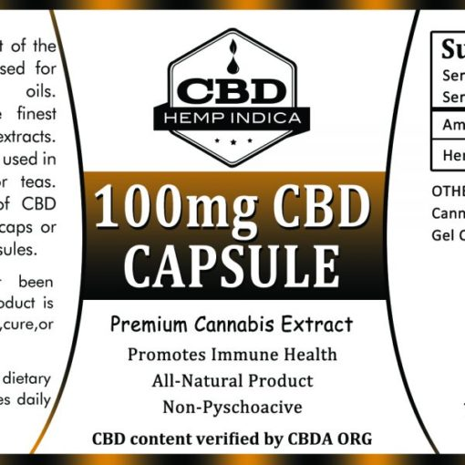 CBD Hemp Indica Powder Capsule, 100mg