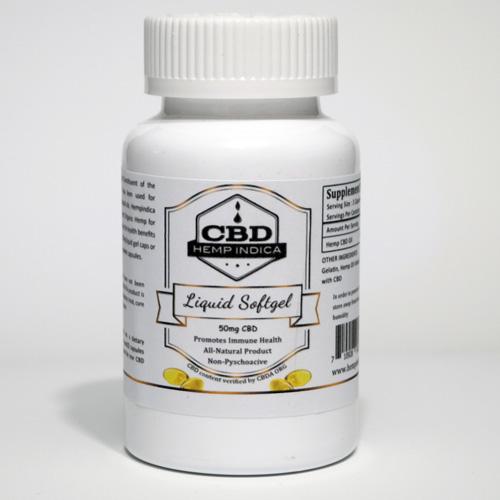 CBD Hemp Indica 50mg gel caps